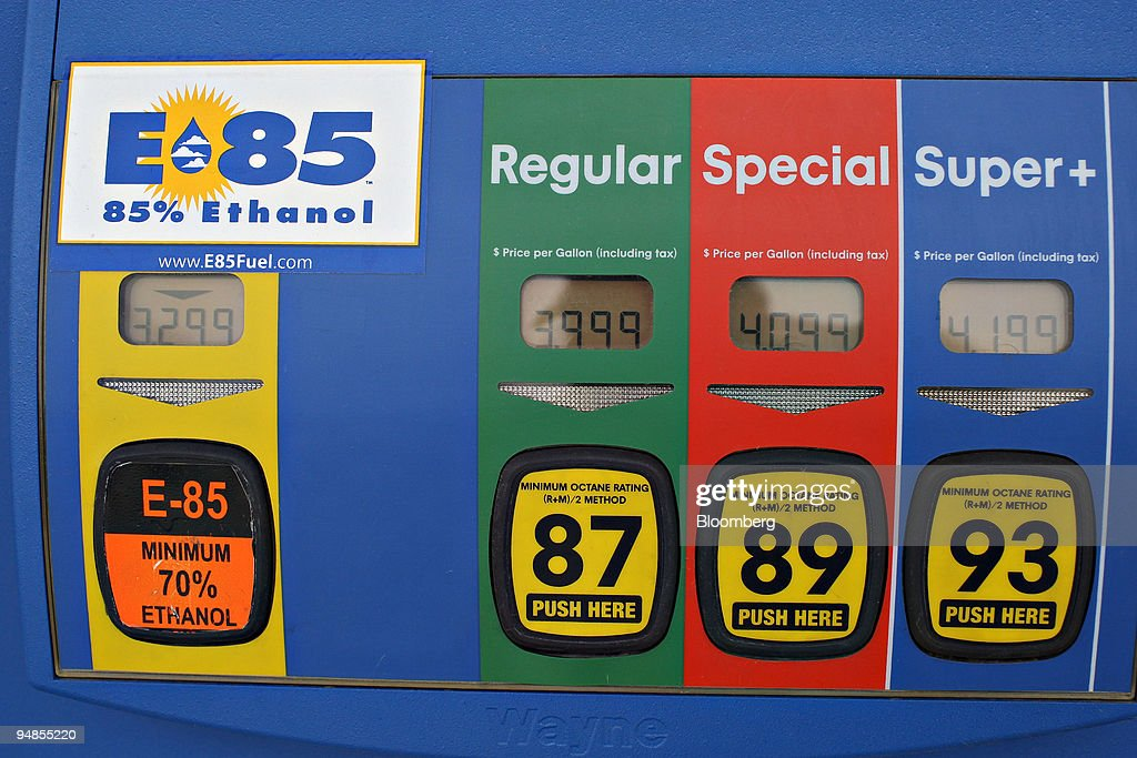 The selection buttons for E85, a mixture of 85 percent ethan : News Photo