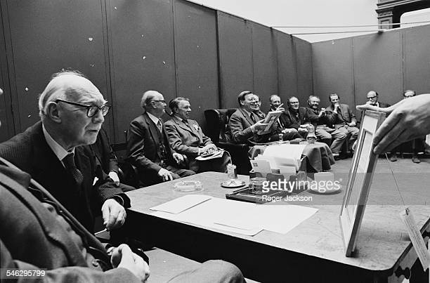 The Selection Committee of the Royal Academy of Arts, meeting to select artworks for the Academy's Summer Exhibition, Burlington House, London, 21st...
