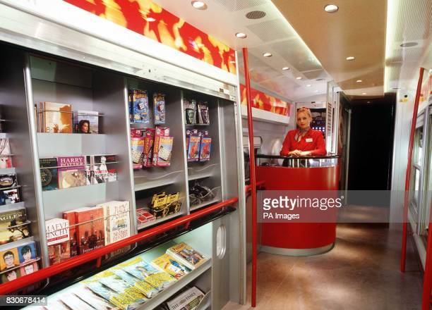 The self service shop onboard the new Virgin Trains Pendolino train 09/07/01 Sir Richard Branson was unveiling a 140mph tilting train which will...