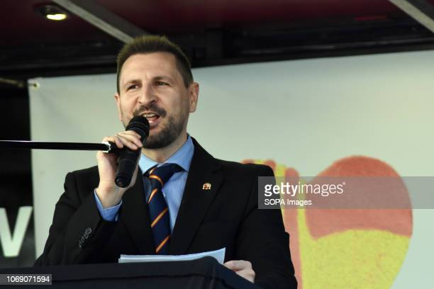The selfappointed member of the Government of Tabarnia Miguel Martinez seen speaking during the event Two thousand people celebrated the 40th...