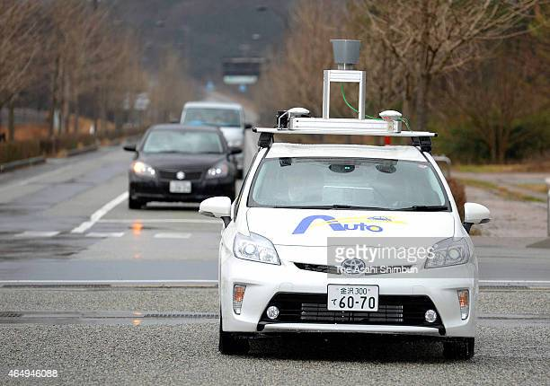 The selfdriving car runs during an inaugural trial run on March 1 2015 in Suzu Ishikawa Japan The first driverless car trial on a public road was...