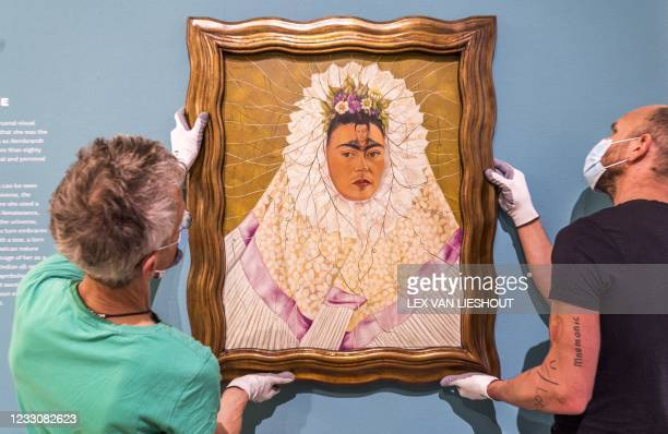 The self-portrait Diego on My Mind by artist Frida Kahlo is displayed in the Cobra Museum in Amstelveen on May 24, 2021. - The museum of modern art...