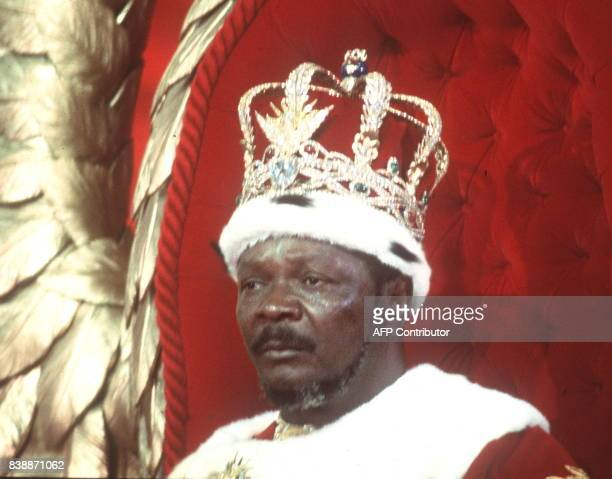 the selfproclamed Emperor of Centrafrican Empire JeanBedel Bokassa looks pensive after he crowned himself 04 December 1977 in Bangui following...