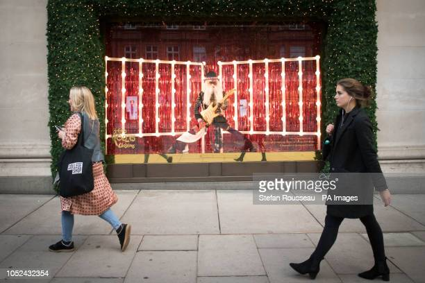 The Selfridges department store in London unveils it's Christmas windows on Oxford Street with the theme Selfridges Rocks Christmas featuring 'Rock...