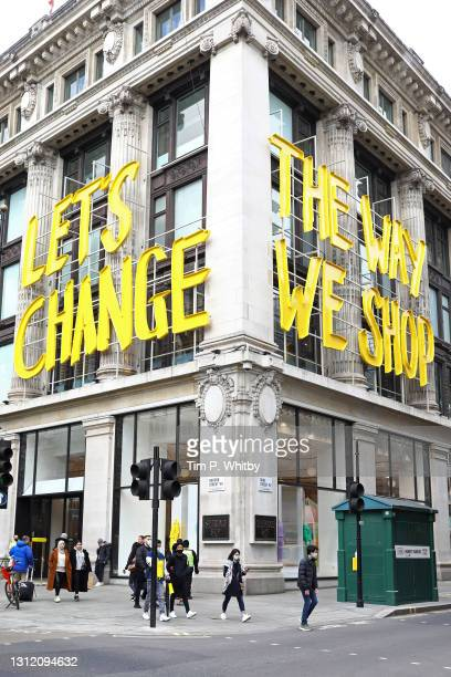 The Selfridges store on the corner of Oxford Street and Bond Street on April 12, 2021 in London, England. England has taken a significant step in...