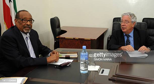 The selfstyled president of Somaliland Ahmed Mahamoud Silanyo speaks on March 7 2012 with EU representative to Somalia GeorgesMarc Andre during an...