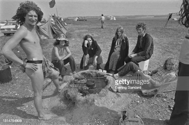 The self-styled Wallies of Wessex squatting on land near Stonehenge on Salisbury Plain in Wiltshire, UK, 7th August 1974. Chris Wally and the others...