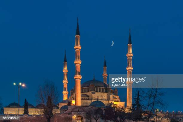 the selimiye mosque at blue hour,edirne,turkey - edirne stock pictures, royalty-free photos & images