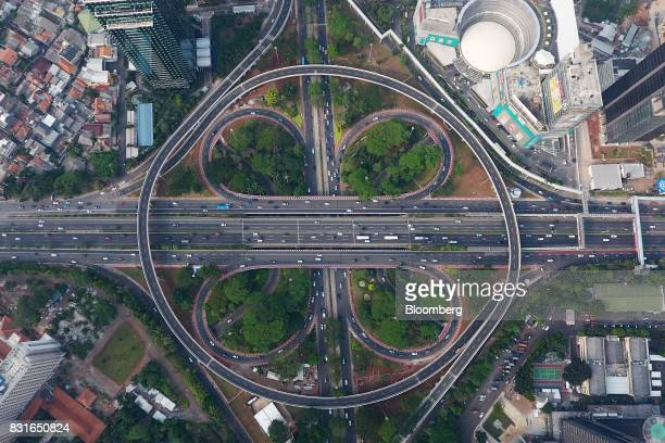 The Semanggi Interchange is seen in this aerial photograph taken in Jakarta Indonesia on Sunday Aug 13 2017 PresidentJokoWidodois seeking hundreds...