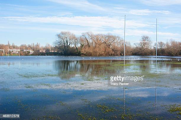 The semi submerged goalposts of a flooded Rugby Pitch at Queen's College Sports Ground, Abingdon Road, Oxford. January 14th 2014. Abingdon Road, a...