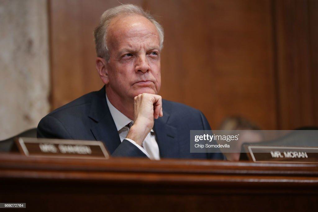 The Senate Appropriations Committee's Commerce, Justice, Science, and Related Agencies Subcommittee Chairman Jerry Moran (R-KS) listens to Federal Bureau of Investigation Director Christopher Wray during a hearing in the Dirksen Senate Office Building on Capitol Hill May 16, 2018 in Washington, DC. Wray testified about this bureau's FY2019 budget request.