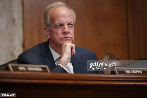 The Senate Appropriations Committee's Commerce Justice Science and Related Agencies Subcommittee Chairman Jerry Moran listens to Federal Bureau of...