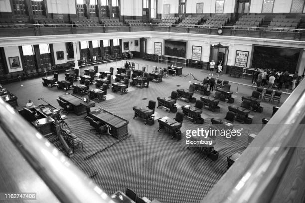 Image has been shot in black and white. Color version not available.) The Senate Chamber is seen at the Texas State Capitol in Austin, Texas, U.S.,...