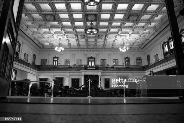 Image has been converted to black and white.) The Senate Chamber is seen at the Texas State Capitol in Austin, Texas, U.S., on Thursday, April 18,...
