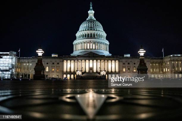 The Senate impeachment trial of President Donald Trump continues into the night on January 29, 2020 in Washington, DC. Today the trial entered the...
