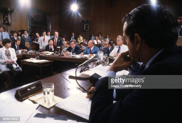 The Senate Judiciary Committee hearing regarding Billy Carter's dealing with Libya attended by senators Joe Biden Birch Bayh Ted Kennedy Strom...