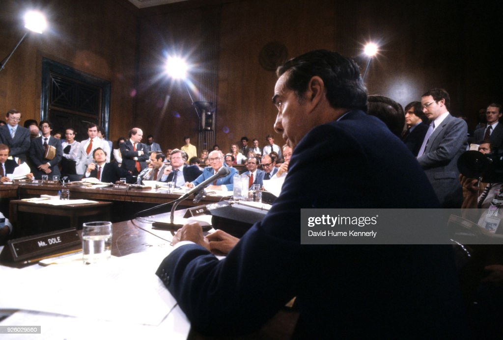Bob Dole At A Hearing : News Photo