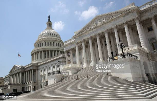 The Senate side of the US Capitol is shown on the last day of the summer session August 3 2017 in Washington DC The US Senate is scheduled to return...