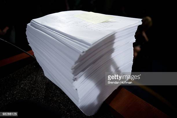 The Senate's health care reform bill sits on the podium following a news conference by Republican Senators on Capitol Hill on November 21 2009 in...