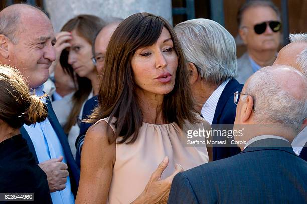 The Senator Anna Maria Bernini at the funeral of Senator Forza Italia Donato Bruno at Papal Basilica of Saint Lawrence outside the Walls on August 20...