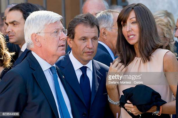 The Senator Paolo Romani and Senator Anna Maria Bernini at the funeral of Senator Forza Italia Donato Bruno at Papal Basilica of Saint Lawrence...