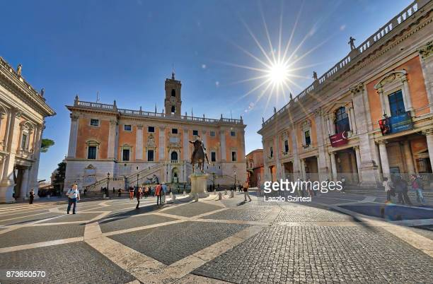 The Senatorial Palace and the Piazza del Campidoglio square are seen at the Capitoline Hill on October 31 2017 in Rome Italy Rome is one of the most...