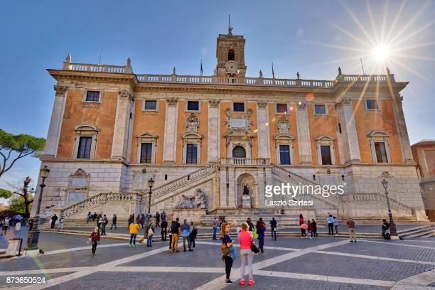 The Senatorial Palace is seen at the Capitoline Hill on October 31 2017 in Rome Italy Rome is one of the most popular tourist destinations in the...