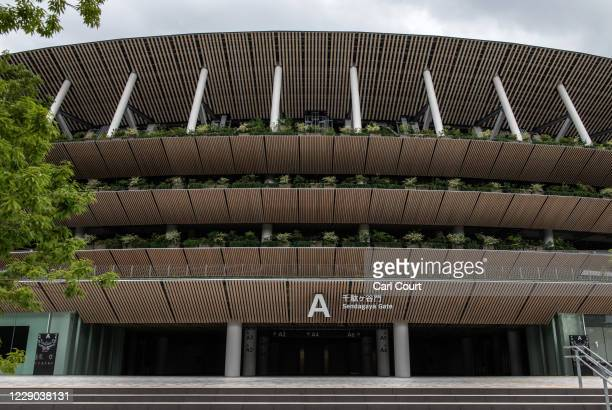 The Sendagaya entrance to the Olympic Stadium is pictured on October 13, 2020 in Tokyo, Japan. Despite assurances from senior International Olympic...