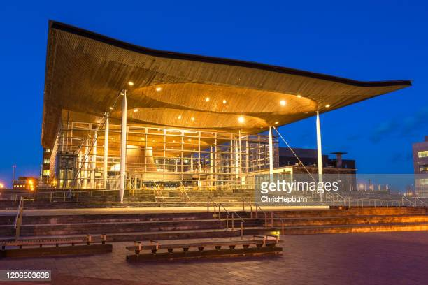 the senedd, welsh parliament, cardiff, wales, uk - welsh culture stock pictures, royalty-free photos & images