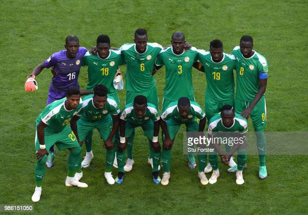 The Senegal players pose for a team photo prior to the 2018 FIFA World Cup Russia group H match between Senegal and Colombia at Samara Arena on June...