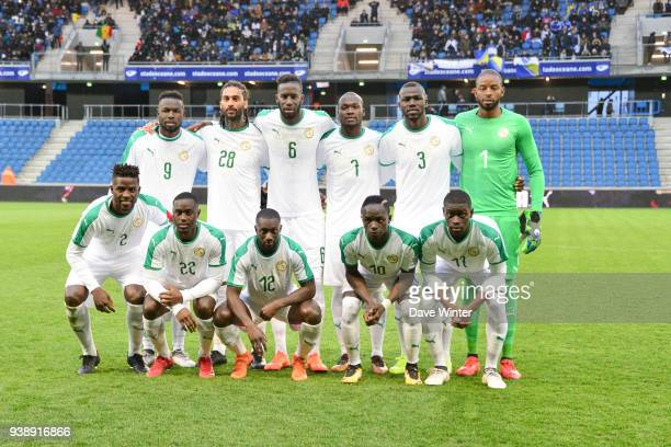 The Senegal team line up before the international friendly match match between Senegal and Bosnia Herzegovina on March 27 2018 in Le Havre France