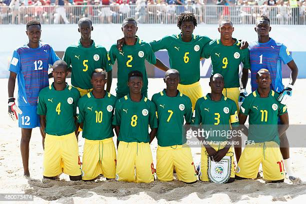 The Senegal team line up prior to the Group A FIFA Beach Soccer World Cup match between Argentina and Senegal held at Espinho Stadium on July 9 2015...