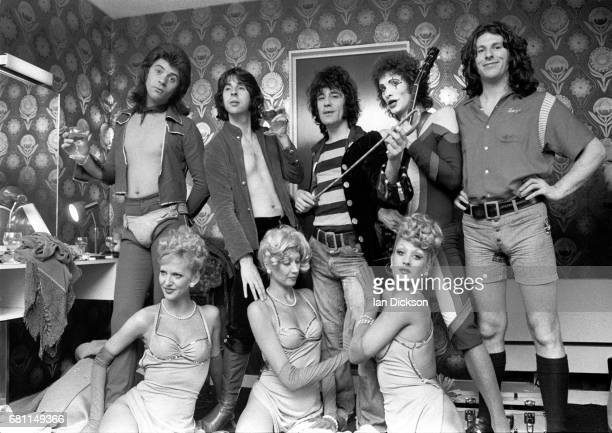 The Sensational Alex Harvey Band backstage at Hammersmith Odeon London 24 May 1975 LR Chris Glen Hugh McKenna Alex Harvey Zal Cleminson Ted McKenna