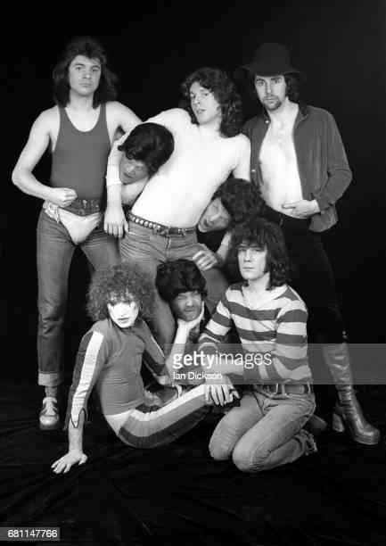 The Sensational Alex Harvey Band group portrait at Kingly Court Studios London January 1974 Clockwise from top left Chris Glen Ted McKenna Hugh...