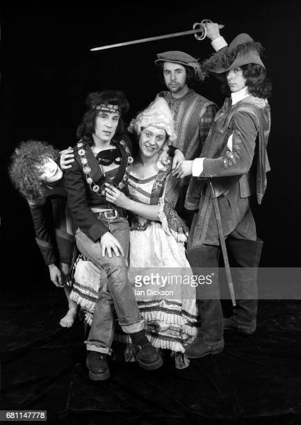The Sensational Alex Harvey Band group portrait at Kingly Court Studios London January 1974 LR Zal Cleminson Alex Harvey Chris Glen Hugh McKenna Ted...