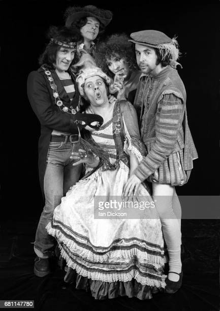 The Sensational Alex Harvey Band group portrait at Kingly Court Studios London January 1974 LR Alex Harvey Ted McKenna Chris Glen Zal Cleminson Hugh...