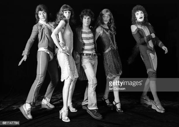The Sensational Alex Harvey Band, group portrait at Kingly Court Studios, London, January 1974. L-R Chris Glen , Alex Harvey , Zal Cleminson .
