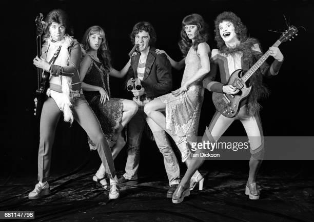 The Sensational Alex Harvey Band group portrait at Kingly Court Studios London January 1974 LR Chris Glen Alex Harvey Zal Cleminson