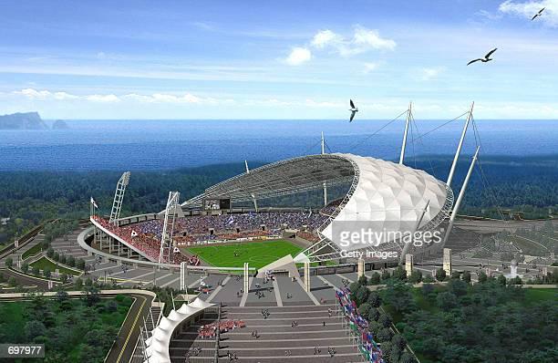 The Seogwipo 2002 Federation Internationale de Football Association World Cup stadium is shown February 5 2002 on Jeju island South Korea The stadium...