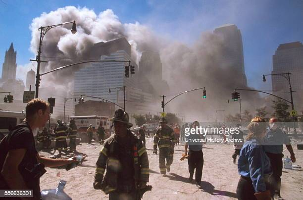 The September 11 Islamic terrorist group al-Qaeda attacks on New York City, September 11, 2001. Two of the planes, were crashed into the North and...