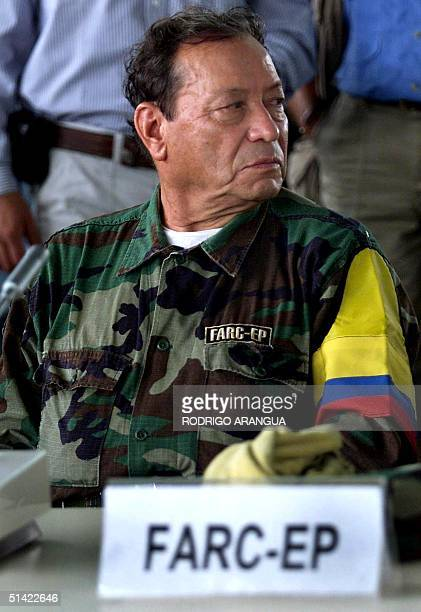 The septuagenarian leader of the Revolutionary Armed Forces of Colombia Manuel 'Sureshot' Marulanda during the beginning of a meeting with 25...