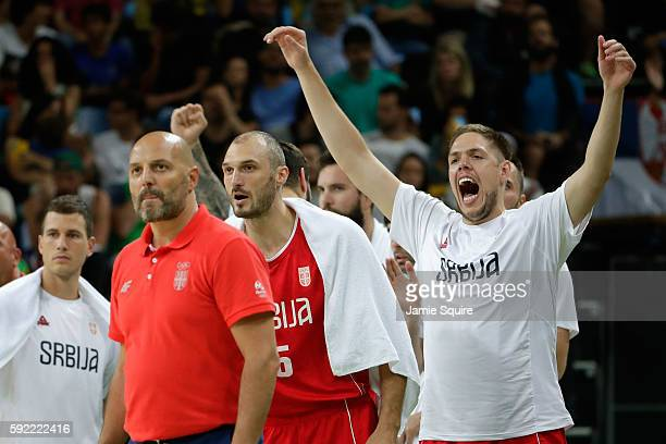 The Serbia bench reacts during the Men's Semifinal match against Australia on Day 14 of the Rio 2016 Olympic Games at Carioca Arena 1 on August 19...