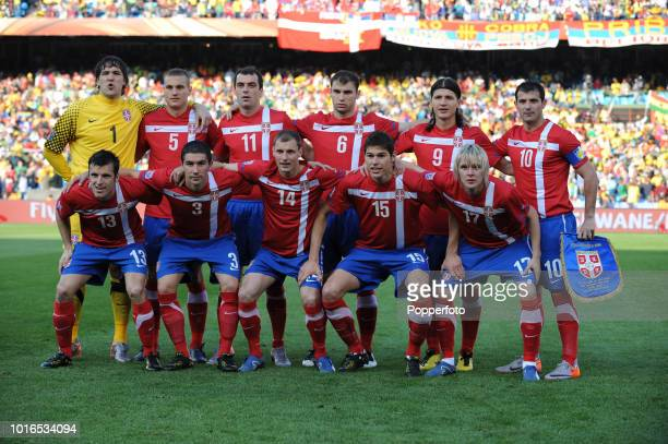 The Serbia football team prior to the 2010 FIFA World Cup Group D match between Serbia and Ghana at Loftus Versfeld Stadium in Pretoria South Africa...