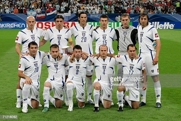 The Serbia Montenegro team line up before the FIFA World Cup Germany 2006 Group C match between Argentina and Serbia Montenegro at the Stadium...