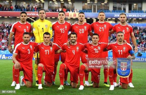 The Serbia players pose for a team photo prior to the 2018 FIFA World Cup Russia group E match between Serbia and Switzerland at Kaliningrad Stadium...