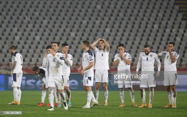 The Serbia side react as Aleksandar Mitrovic of Serbia misses a penalty to lose the match during the UEFA EURO 2020 Play-Off Final between Serbia and...