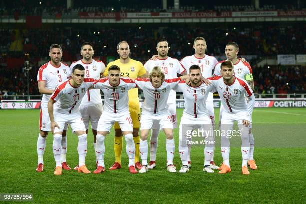 Dusko Tosic Aleksandar Mitrovic Marko Dmitrovic Nikola Maksimovic Nemanja Matic Aleksandar Kolarov of Serbia front row left to right Filip Kostic...