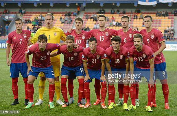 The Serbia team group before the UEFA European Under-21 Group A match between Germany and Serbia at Letna Stadium on June 17, 2015 in Prague, Czech...