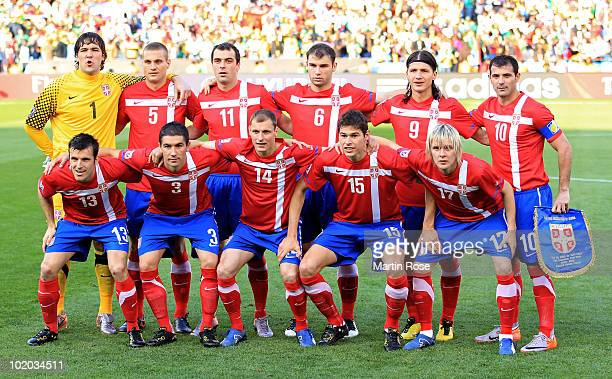 The Serbia team line up ahead of the 2010 FIFA World Cup South Africa Group D match between Serbia and Ghana at Loftus Versfeld Stadium on June 13,...