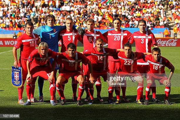 The Serbia team line up ahead of the 2010 FIFA World Cup South Africa Group D match between Germany and Serbia at Nelson Mandela Bay Stadium on June...